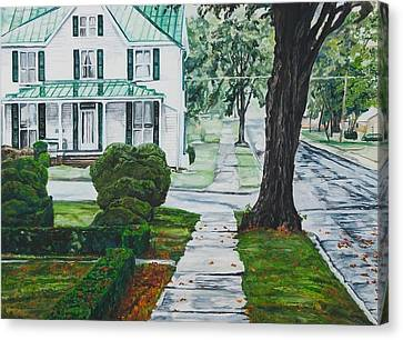 Rain On Green Roof Canvas Print by Thomas Akers