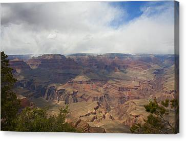 Rain On North Rim Over Bright Angel Trail Canvas Print by Gregory Scott