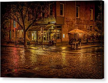 Rain On The Cobblestones Of Greenwich Village Canvas Print by Chris Lord