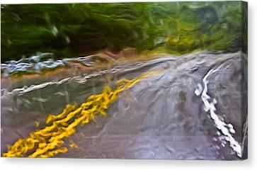 Rain On The Windshield Motion Blur And Rain Blur Canvas Print by Ed Book