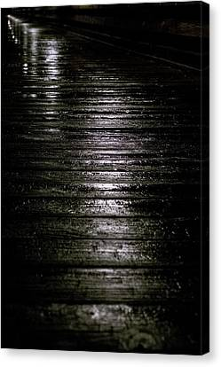Rain On Wooden Pier Canvas Print by Mary Lee Dereske