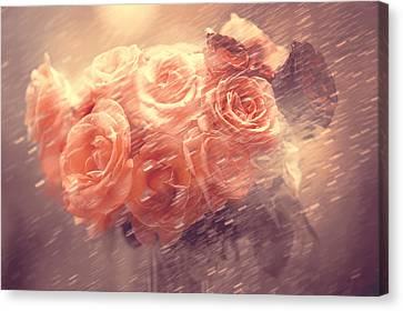 Rain Red Roses Pastel Canvas Print by Jenny Rainbow