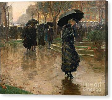 Rain Storm Union Square Canvas Print by Childe Hassam