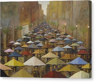 Canvas Print featuring the painting Rain Street by Glenn Quist