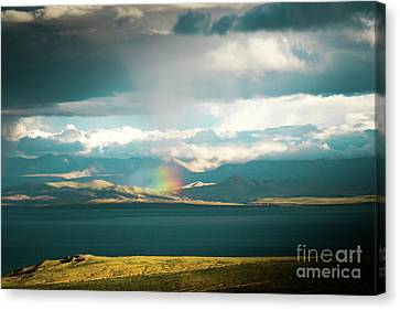 Tibetan Buddhism Canvas Print - Rainbow Above Lake Manasarovar Kailash Yantra.lv by Raimond Klavins