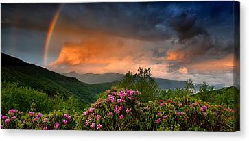 Rainbow And Rhododendrons On The Parkway Canvas Print