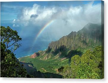 Rainbow At Kalalau Valley Canvas Print by James Eddy