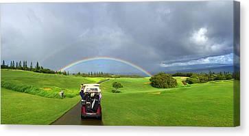 Rainbow At Kapalua Canvas Print by Stacia Blase