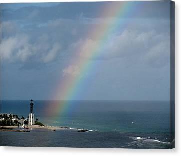 Rainbow At Lighthouse Canvas Print