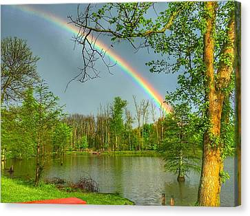 Canvas Print featuring the photograph Rainbow At The Lake by Sumoflam Photography