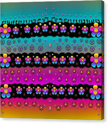 Rainbow  Big Flowers In Peace For Love And Freedom Canvas Print