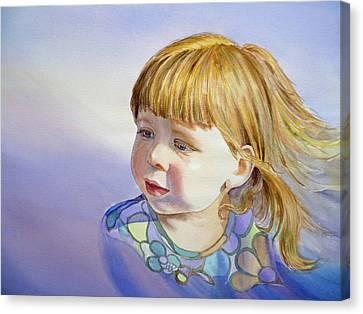 Rainbow Breeze Girl Portrait Canvas Print by Irina Sztukowski