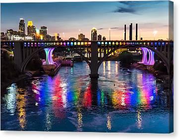 Rainbow Bridge In Minneapolis Canvas Print by Jim Hughes
