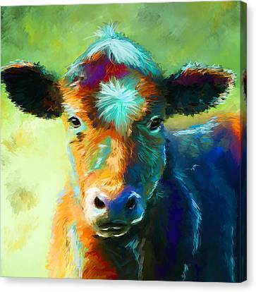 Modern Digital Art Canvas Print - Rainbow Calf by Michelle Wrighton