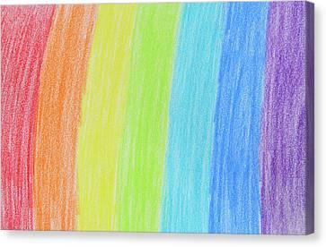 Rainbow Crayon Drawing Canvas Print by GoodMood Art