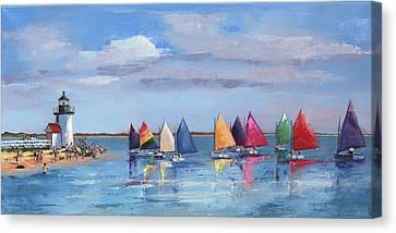 Rainbow Fleet Parade At Brant Point Canvas Print by Trina Teele