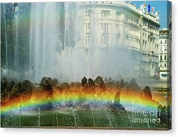 Canvas Print featuring the photograph Rainbow Fountain In Vienna by Mariola Bitner
