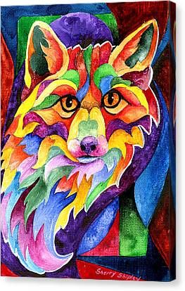 Rainbow Fox Canvas Print by Sherry Shipley