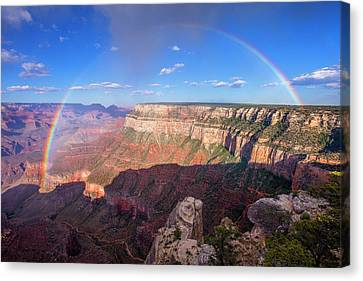Grand Canyon National Park Canvas Print - Rainbow From Trailview Overlook by Mike Buchheit