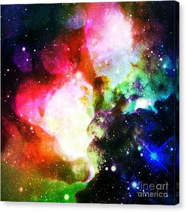 Glitter Canvas Print - Rainbow Galaxy Nebula by Johari Smith