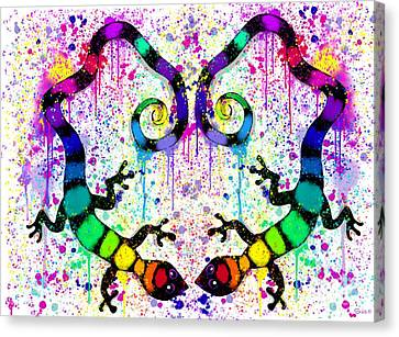Canvas Print - Rainbow Gecko Heart by Nick Gustafson