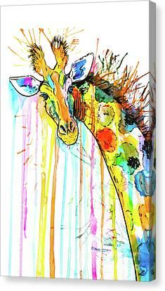 Canvas Print featuring the painting Rainbow Giraffe by Zaira Dzhaubaeva