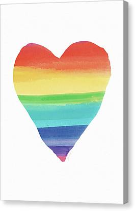 Rainbow Heart- Art By Linda Woods Canvas Print by Linda Woods
