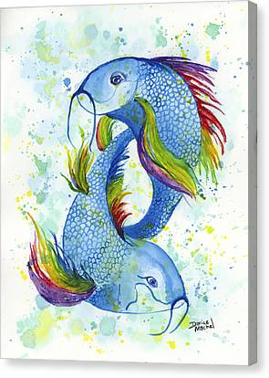 Canvas Print featuring the painting Rainbow Koi by Darice Machel McGuire