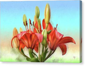Canvas Print featuring the photograph Rainbow Lilies by Lois Bryan