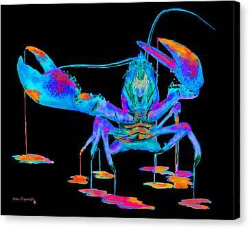 Rainbow Lobster On Black Canvas Print