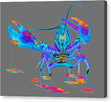 Rainbow Lobster On Gray Canvas Print