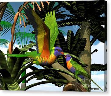 Rainbow Lorikeet Parrots Canvas Print by Corey Ford
