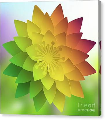 Canvas Print featuring the digital art Rainbow Lotus by Mo T