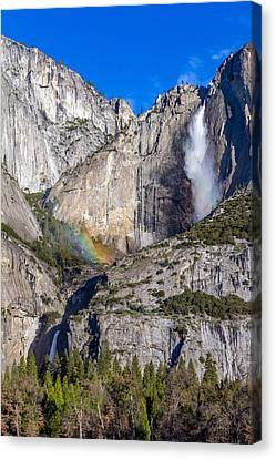 Rainbow Mist At Yosemite Falls Canvas Print by Bill Gallagher