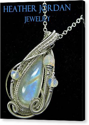 Rainbow Moonstone And Sterling Silver Wire-wrapped Pendant With Ethiopian Welo Opals Mnstpss7 Canvas Print by Heather Jordan