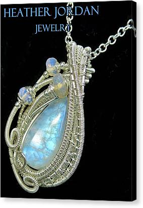 Rainbow Moonstone And Sterling Silver Wire-wrapped Pendant With Ethiopian Welo Opals Mnstpss8 Canvas Print by Heather Jordan