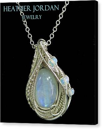 Rainbow Moonstone And Sterling Silver Wire-wrapped Pendant With Ethiopian Welo Opals Mnstpss9 Canvas Print by Heather Jordan