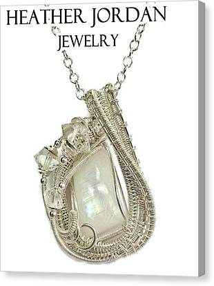 Rainbow Moonstone And Sterling Silver Wire-wrapped Pendant With Herkimer Diamonds Mnstpss10 Canvas Print by Heather Jordan