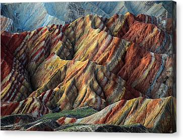 Rainbow Mountains Canvas Print by Happy Home Artistry