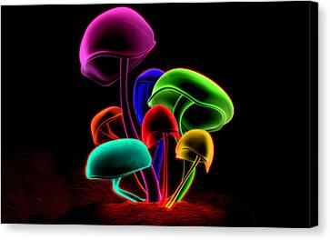Rainbow Mushrooms Canvas Print by Jovemini ART
