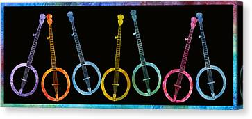Rainbow Of Banjos Canvas Print by Jenny Armitage