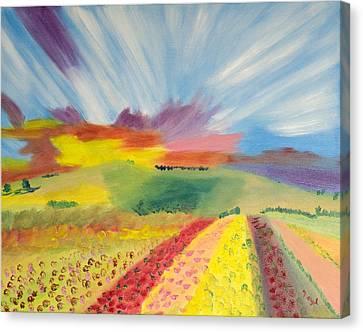 Rainbow Of Flowers Canvas Print