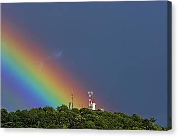 Rainbow On Lighthouse- St Lucia Canvas Print
