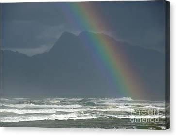 Rainbow On Ocean Canvas Print by Sami Sarkis