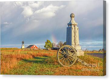 Rainbow On The Gettysburg Battlefield Two Canvas Print by Randy Steele