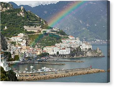 Rainbow Over A Town, Almafi, Amalfi Canvas Print by Panoramic Images