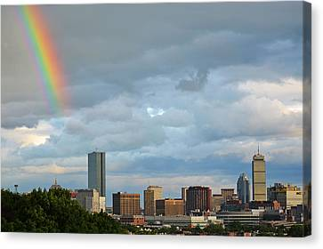Rainbow Over Boston Ma Canvas Print by Toby McGuire