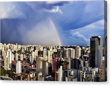 Rainbow Over City Skyline - Sao Paulo Canvas Print