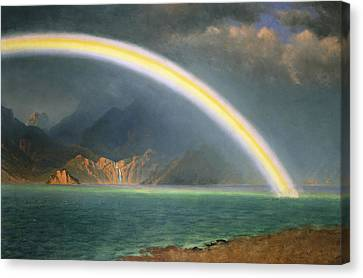 Rainbow Over Jenny Lake Wyoming Canvas Print by Albert Bierstadt