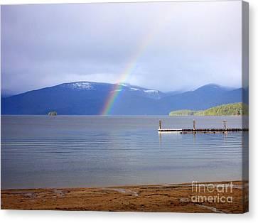 Rainbow Over Priest Lake Canvas Print by Carol Groenen